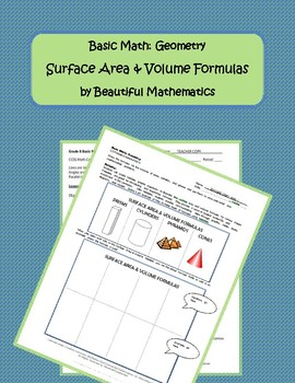 Surface Area & Volume Formulas