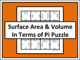 Surface Area & Volume In Terms of Pi Puzzle