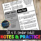 Surface Area & Volume: Similar Solids Doodle Guide & Practice Worksheet