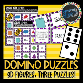 Surface Area, Volume, Similar Solids: Set of 3 Domino Puzzles; Geometry