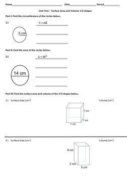 Surface Area & Volume Test
