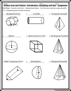 Surface Area & Volume - Unit 11 - Introduction to 3-D figures, Naming, Nets