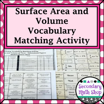 Surface Area & Volume - Unit 11 - Surface Area & Volume Vocabulary Matching Act.