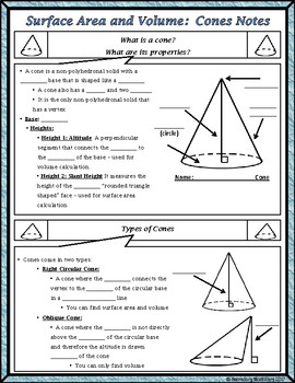 Surface Area & Volume - Unit 11 - Surface Area & Volume of Cones Notes/HMWK