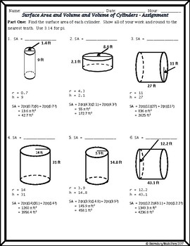 Surface Area & Volume - Unit 11 - Surface Area & Volume of Cylinders Notes/HMWK