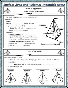 Surface Area & Volume - Unit 11 - Surface Area and Volume of Pyramids Notes/HMWK