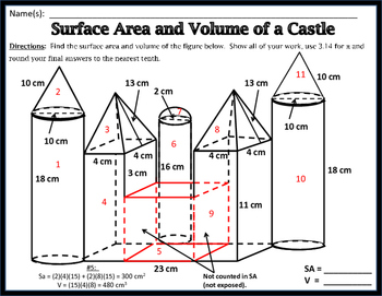Surface Area & Volume - Unit 11: Surface Area and Volume of a Castle FREEBIE!