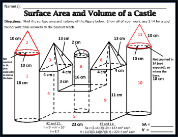 surface area volume unit 11 surface area and volume of a castle freebie - Surface Area And Volume Worksheet