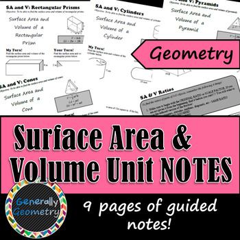 Surface Area & Volume Unit Notes