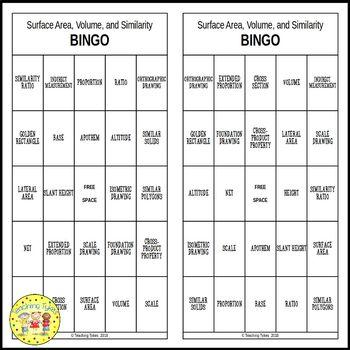 Surface Area, Volume, and Similarity BINGO