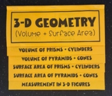 Surface Area & Volume of 3-D Figures (FOLDABLE)