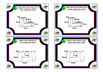 Surface Area & Volume of Composite Solids Task Cards