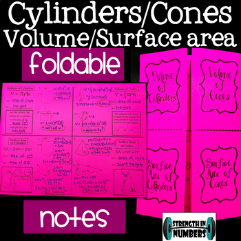 Surface Area & Volume of Cylinders & Cones Foldable Notes Interactive Notebook