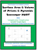 Surface Area & Volume of Prisms & Pyramids Scavenger Hunt-7G6