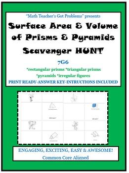 Surface Area & Volume of Prisms & Pyramids Scavenger Hunt-7G6