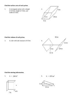 Surface Area & Volume of Prisms Worksheet