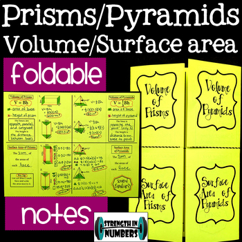 Surface Area & Volume of Pyramids & Prisms Foldable Notes Interactive Notebook