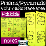 Surface Area & Volume of Pyramids & Prisms Foldable Notes