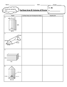 Surface Area & Volume of Rectangular & Triangular Prisms Worksheet