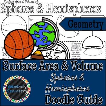 Surface Area & Volume of Spheres & Hemispheres Doodle Notes, Geometry