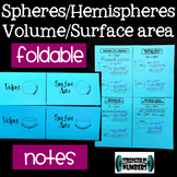 Surface Area & Volume of Spheres & Hemispheres Foldable Notes for INB