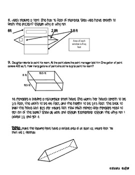 Surface Area and Area Quiz