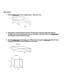 Surface Area and Volume (6th Grade Common Core)