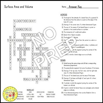 Surface Area and Volume Crossword Puzzle