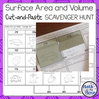 Surface Area and Volume (Prisms and Pyramids) Cut and Paste Scavenger Hunt!