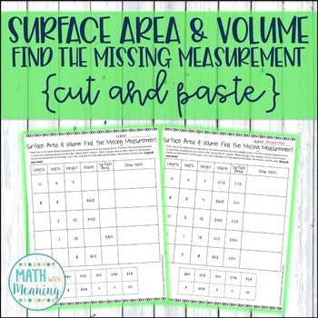 Surface Area and Volume: Find the Missing Measurements Cut and Paste Activity