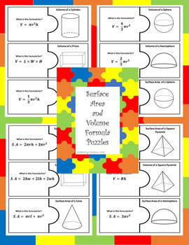 Surface Area and Volume Formula Puzzles