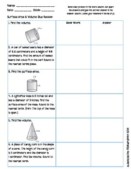 Surface Area and Volume Glue Review
