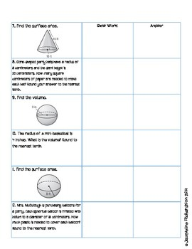 Surface Area and Volume Glue Review by Jacqueline Richardson | TpT