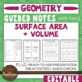 Surface Area and Volume - Guided Notes and INB Activities