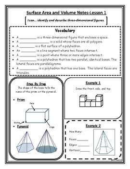 Surface Area and Volume Notes