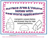 Surface Area and Volume Notes with Real World Application