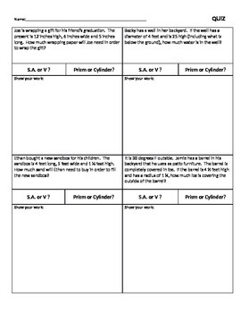 Surface Area and Volume Practical Problems Quiz