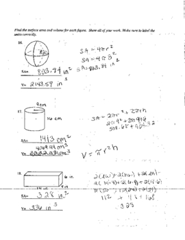 Surface Area and Volume  Practice Worksheet and Assessment