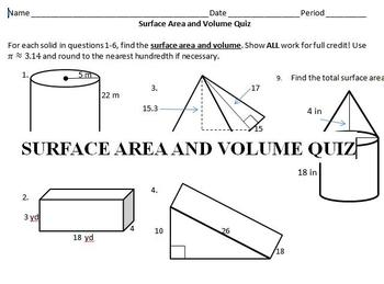 Surface Area and Volume Quiz