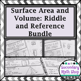 Surface Area and Volume Riddle Worksheets and Quick Reference BUNDLE!