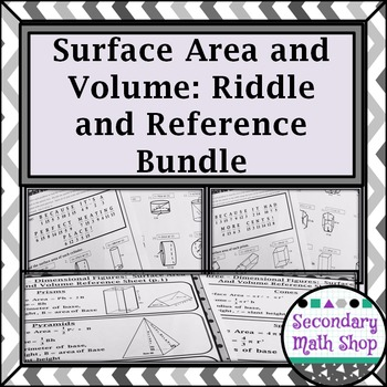 Surface Area and Volume Riddle Worksheets and Quick Refere