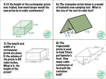 Surface Area and Volume Task Cards ~ Middle School Math