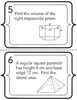 Surface Area and Volume Task Cards