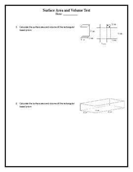 Surface Area and Volume Test of Rectangular Prism