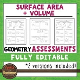 Surface Area and Volume Tests - Geometry Editable Assessments