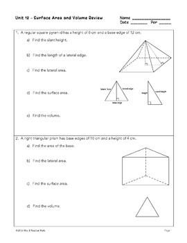 Surface Area and Volume Unit Bundle