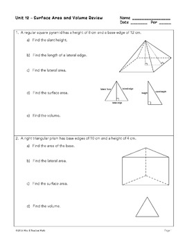 Surface Area and Volume Unit Bundle by Mrs E Teaches Math ...