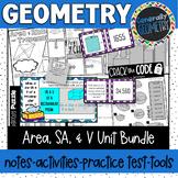 Surface Area and Volume Unit Bundle; Geometry, 3-D figures, 2-D Figures