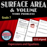 Surface Area and Volume Word Problems Worksheet