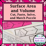 Surface Area and Volume of 3-D Figures Cut, Paste, Solve, Match Puzzle Activity